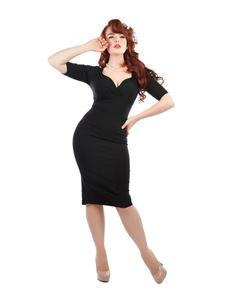 Collectif Trixie 40s Style Black Pencil Dress