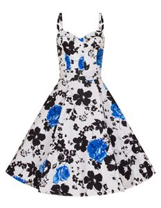 Bettie Vintage 50's White Daisy Blue Black Floral Dress