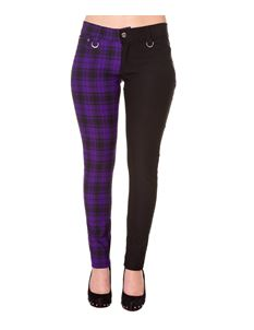 Banned 50s Trouser Half-Black-Purple Check Skinny Jeans