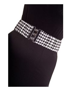 Hell Bunny Black White Gingham Elasticated Belt