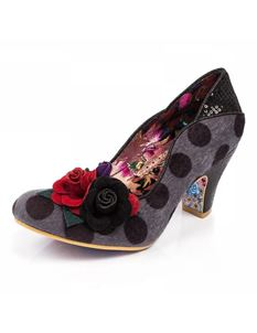 Irregular Choice Winchester Black Grey Polka Dot Heels