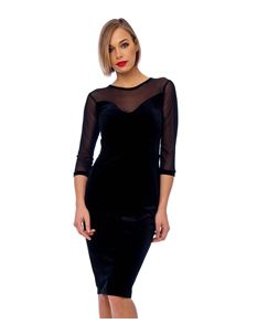 Bettie Vintage Black Mesh Detail Velvet Bodycon Dress