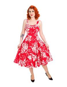 H&R London 50s Style White Regal Lily Floral Dress