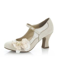 Ruby Shoo Madelaine Cream & Gold Single Strap Mid Heels