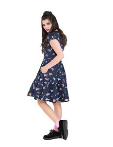 Hell Bunny Atomic Spaceships Aliens Stars Navy Dress