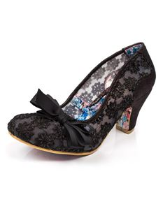 Irregular Choice Palm Cove Black Mesh Mid Heels