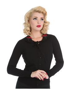 Hearts & Roses London Black Rose Cardigan