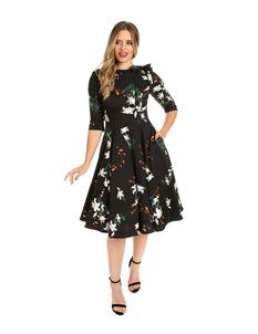 H&R Vintage Black White Lilly Retro Floral Swing Dress