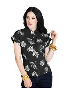 Hell Bunny Pineapple Tropical Floral 50s Shirt Top
