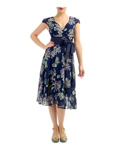 Eucalyptus 1950s Style Navy Floral Chiffon Swing Dress