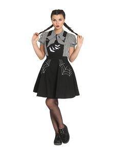 Hell Bunny Miss Muffet Bats Short Black Pinafore Dress