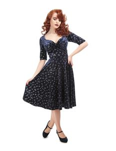 Collectif 40s 50s Trixie Navy Silver Sparkle Doll Dress