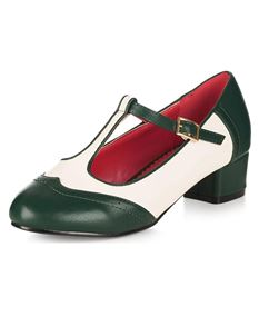 Collectif Georgia Mary Jane 40s T-Bar Shoes Dark Green