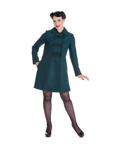 Hell Bunny Kira Military Braid Coat Green Teal