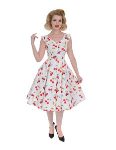 H&R London Sweet Cherries High Back Swing Dress