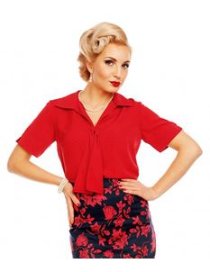Dolly And Dotty Ruby Short Sleeve Tie Blouse