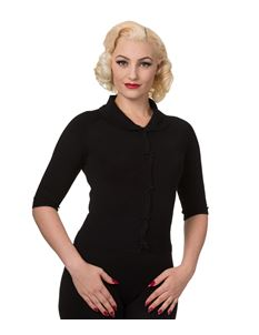 Dancing Days 50s April Bow Black Short Sleeve Cardigan