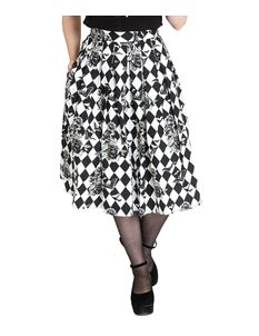 Hell Bunny Hauntley Bats Harlequin 50s Pleated Skirt