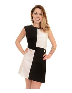 Run & Fly Ladies 60s Mod Black & White Quadrant Dress