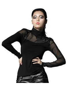 Punk Rave Pandora Roll Neck Mesh Long Sleeve Top