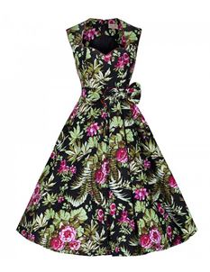 Lindy Bop 50's Grace Tropical Floral Dress Black