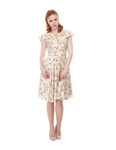 Collectif 1940s WW11 Cream Tamara Swallow Print Dress