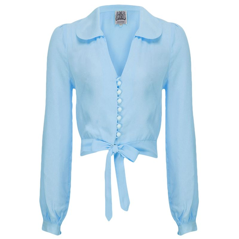 Clarice Blouse 40's Blue - The Seamstress of Bloomsbury