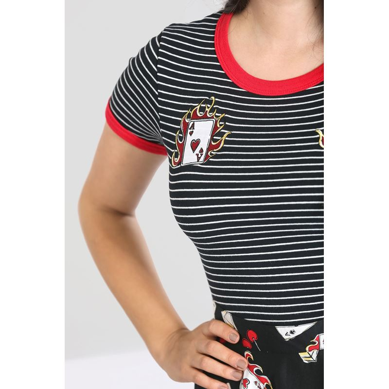 Hell Bunny Viva Las Vegas 50s Rockabilly Striped Top