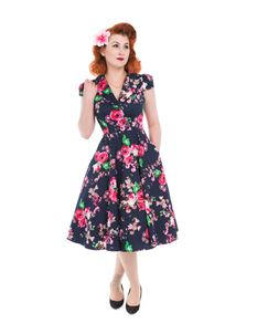 Hearts And Roses 1940s Navy Blue Midnight Garden Dress
