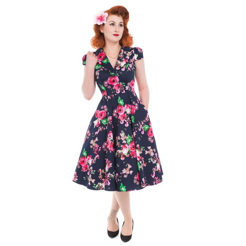 ce1d78b816abd Hearts And Roses 1940s Navy Blue Midnight Garden Dress