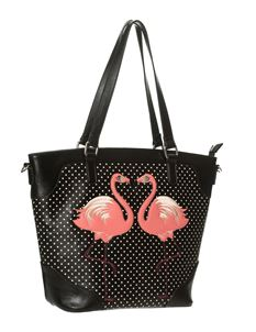 Dancing Days Black White Polka Dot Flamingo Handbag