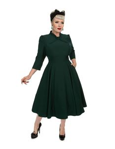 Hearts & Roses Victoria Swing Petrol Green 50s Dress