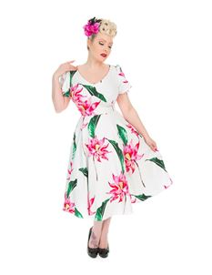 H&R London 50s Andromeda Wide Short Sleeve Swing Dress