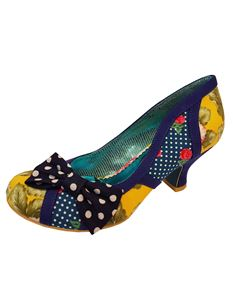 Poetic Licence Shake It Polka Dot Blue Floral Mid Heel