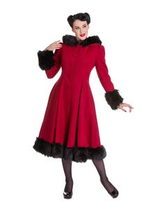 Hell Bunny Red Elvira Vintage Style Coat With Hood
