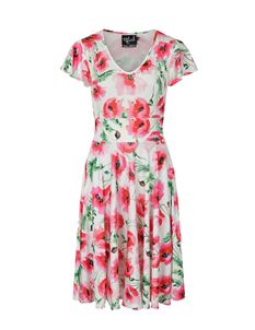 Hell Bunny Aquarelle Floral Poppy Vintage Tea Dress
