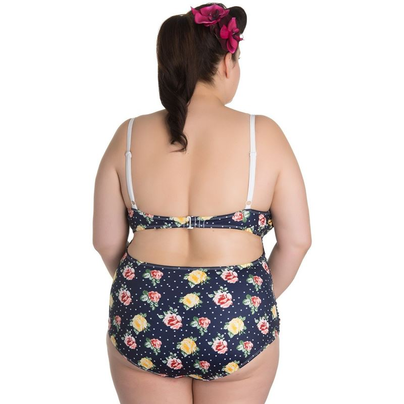 Hell Bunny 50s Emma Navy Blue Floral Swimsuit