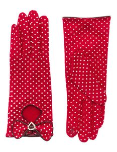 Pia Rossini Bille 50s Red And White Polka Dot Gloves
