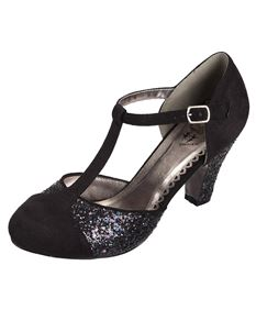 Dancing Days 1950s Black Glitter High Heel Shoes
