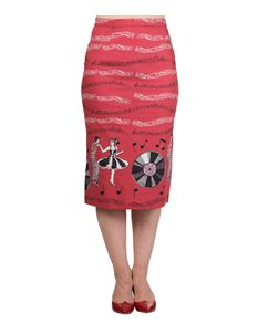 Banned Empower 50s Jive Record Music Pencil Wiggle Skirt