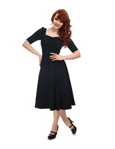 Collectif Dolores Doll Sleeve Petrol Blue Brocade Dress