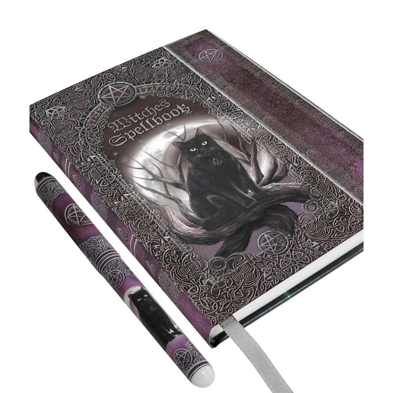 Embossed Witches Spell Book Cat A5 Journal with Pen