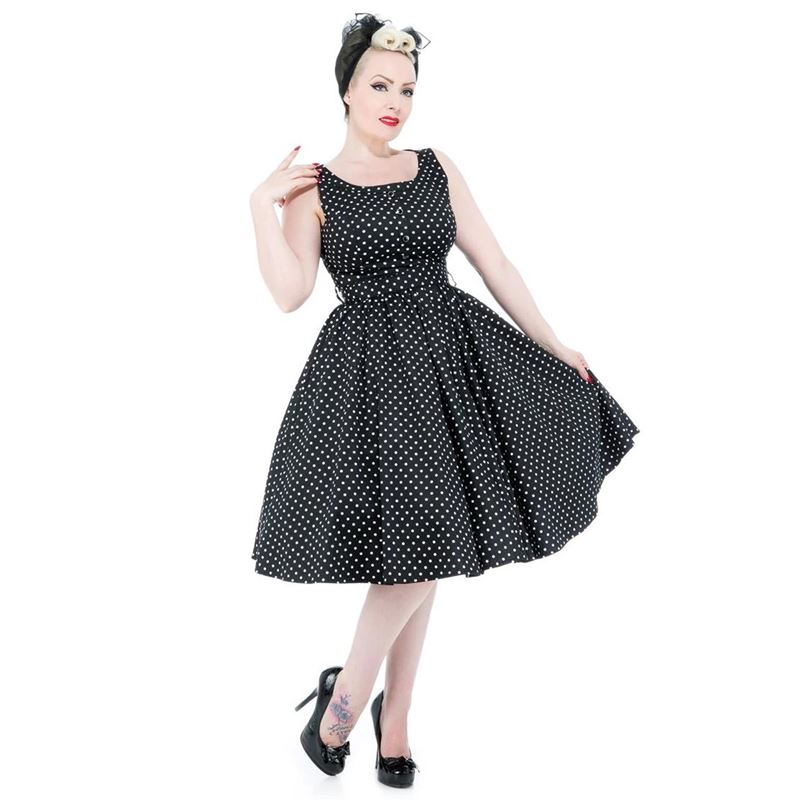 Hearts and Roses Black White Polka Dot Swing Dress