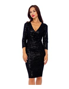 Bettie Vintage 50's Mori Sequin Pencil Black Dress