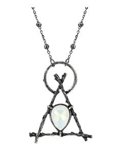 Restyle Gothic Branch Delta Opal Pendant Long Necklace