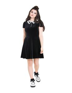 Hell Bunny Casper Ghost Velvet Mini Alternative Dress