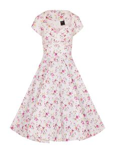 White Eden Pink Floral Short Sleeves 50's Swing Dress