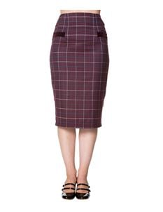 Dancing Days Maddy Pencil Skirt In Purple Tartan