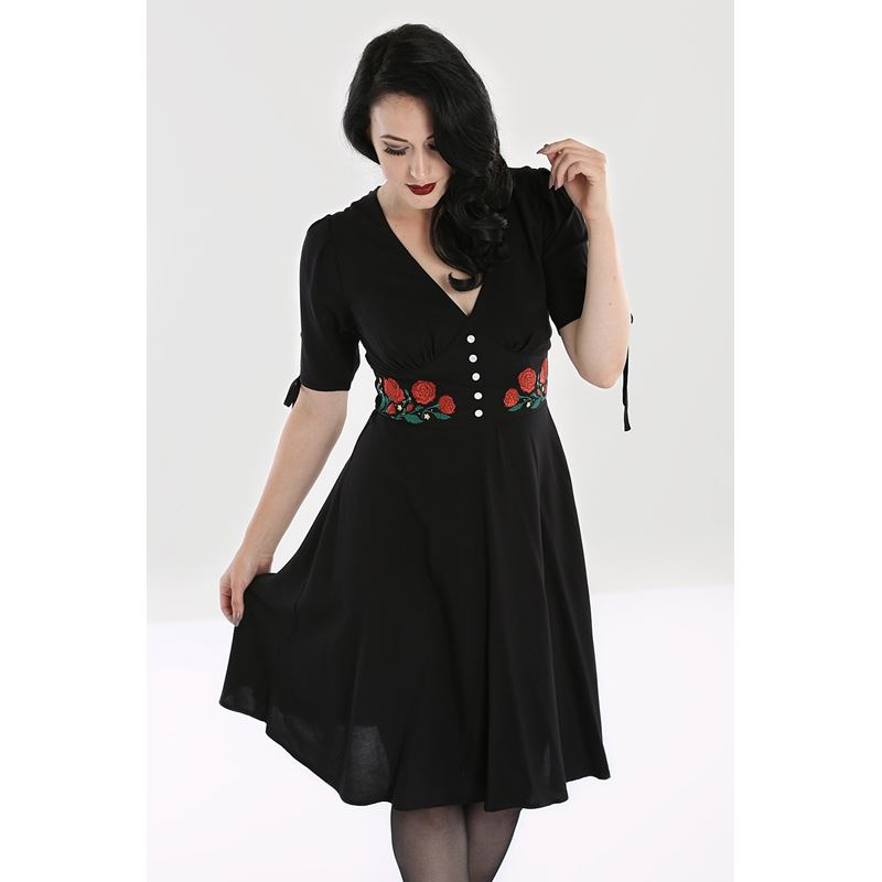 Hell Bunny Jacqueline 40s 50s Red Rose Black Mid Dress