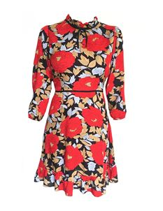 Trollied Dolly Totally Frilling Dress - Red Tan Floral